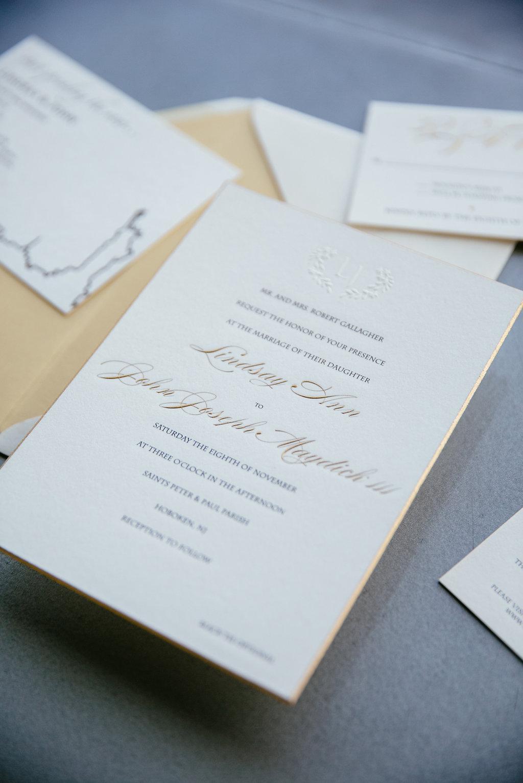 letterpress gold invitation